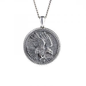 Jeulia Eagle Men's Sterling Silver Necklace