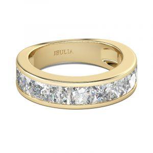 Jeulia Gold Tone Princess Cut Sterling Silver Women's Band