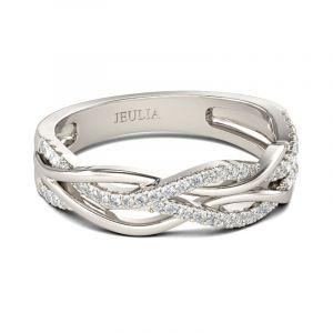 Jeulia Intertwined Sterling Silver Women's Band