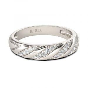 Jeulia Twist Round Cut Sterling Silver Women's Band