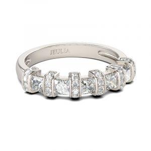 Jeulia Art Deco Princess Cut Sterling Silver Women's Band