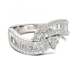 Jeulia Bypass Sterling Silver Women's Band
