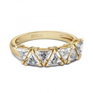 Jeulia Gold Tone Trillion Cut Sterling Silver Women's Band