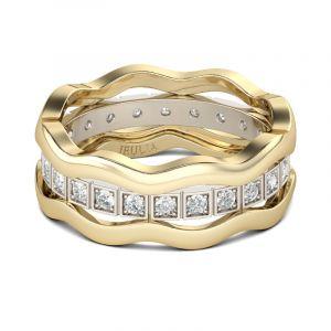 Jeulia Wavy Round Cut Sterling Silver 3PC Wedding Band