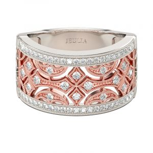 Jeulia Two Tone Milgrain Round Cut Sterling Silver Women's Band
