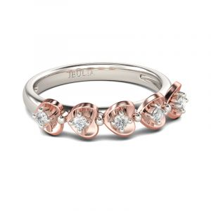 Jeulia Two Tone Heart Round Cut Sterling Silver Women's Band