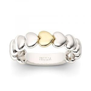 Jeulia Two Tone Heart Shape Sterling Silver Women's Band