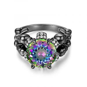 Jeulia  Black Tone Round Cut Sterling Silver Skull Ring