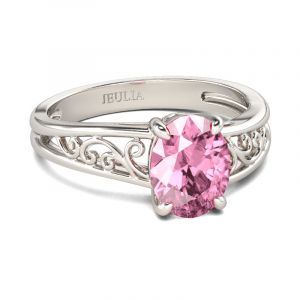 Jeulia  Scrollwork Oval Cut Sterling Silver Ring