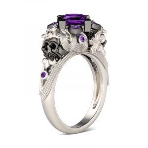 Jeulia  Flower Design Princess Cut Sterling Silver Skull Ring
