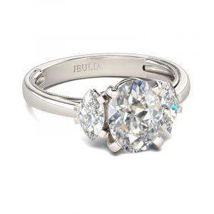 Jeulia  Three Stone Oval Cut Sterling Silver Ring