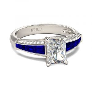 Jeulia  Art Deco Radiant Cut Sterling Silver Ring