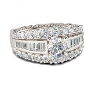 Jeulia Milgrain Round Cut Sterling Silver Ring
