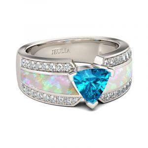 Jeulia  Unique Trillion Cut Sterling Silver Ring