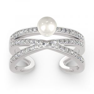 Jeulia Geometry Cultured Pearl Sterling Silver Ring