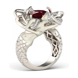 Jeulia  Red Cushion Cut Sterling Silver Mermaid Ring