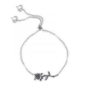 Jeulia Heart Leaves Rose Branch Bracelet