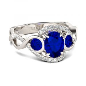 Jeulia  Twist Oval Cut Sterling Silver Ring
