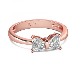 Jeulia  Bowknot Heart Cut Sterling Silver Ring