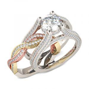 Jeulia  Three Tone Round Cut Sterling Silver Ring Set