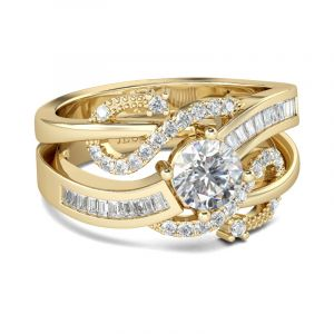 Jeulia  Gold Tone Round Cut Sterling Silver Ring Set