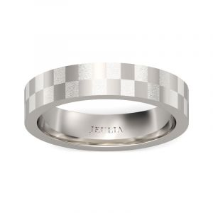 Jeulia  Frosted Checkered Stainless Steel Men's Band