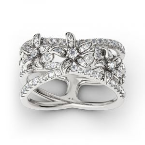 Jeulia Split Shank Flower Sterling Silver Ring