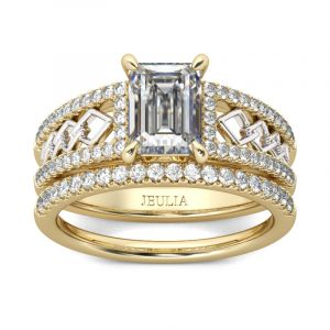 Jeulia Two Tone Emerald Cut Sterling Silver Ring Set
