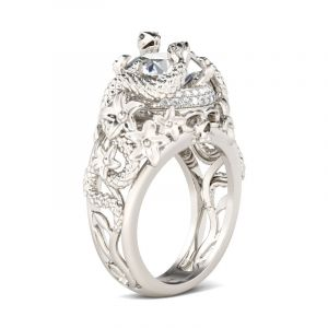 Jeulia  Snake Round Cut Sterling Silver Skull Ring