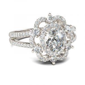 Jeulia  Floral Halo Split Shank Oval Cut Sterling Silver Ring