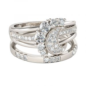 Jeulia  Crescent Round Cut Sterling Silver Ring Set