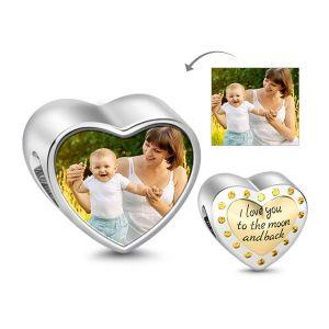 Topaz Golden Heart Photo Charm Sterling Silver