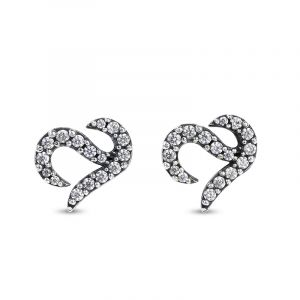 Jeulia Logo Shape Commemorative Sterling Silver Stud Earrings