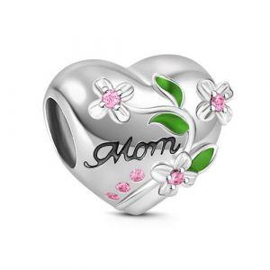 Flower Heart Shape Charm Sterling Silver