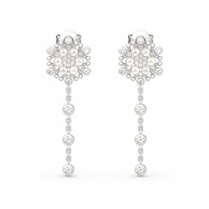 Jeulia Snowflake Cultured Pearl Sterling Silver Earrings