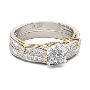 Jeulia  Milgrain Two Tone Round Cut Sterling Silver Ring Set