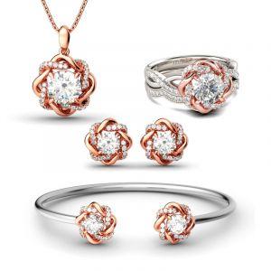 Jeulia Twist Halo Round Cut Sterling Silver Jewelry Set