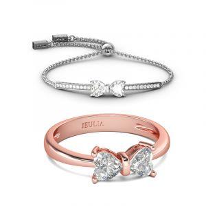Jeulia Bowknot Heart Cut Sterling Silver Jewelry Set