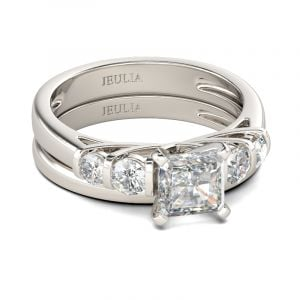 Jeulia  Contemporary Design Asscher Cut Sterling Silver Ring Set