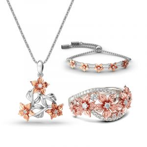 Jeulia Two Tone Flower Sterling Silver Jewelry Set