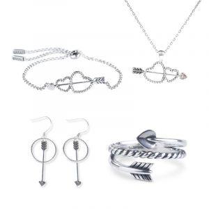 Jeulia Cupid's Arrow Sterling Silver Jewelry Set