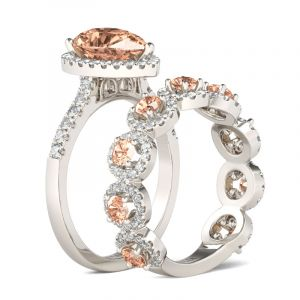 Jeulia Halo Pear Cut Sterling Silver Bridal Set