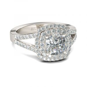 Jeulia Halo Split Shank Cushion Cut Sterling Silver Engagement Ring