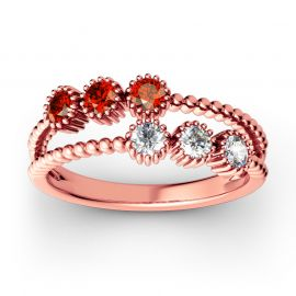 Bead Split Shank Sterling Silver Ring