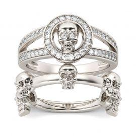 Split Shank Sterling Silver Skull Ring Set