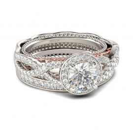 Halo Twist Round Cut Sterling Silver Ring Set
