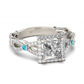 Vintage Halo Princess Cut Sterling Silver Ring