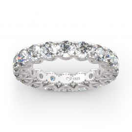 Round Cut Eternity Sterling Silver Women's Band