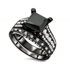 Vintage Milgrain Princess Cut Sterling Silver Ring Set