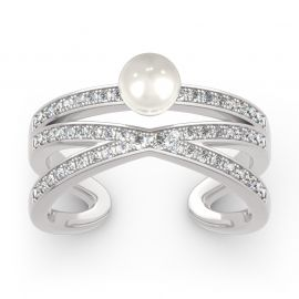 Geometry Cultured Pearl Sterling Silver Ring